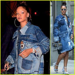Rihanna Rocks a Denim Dress Before Her Diamond Ball in NYC!