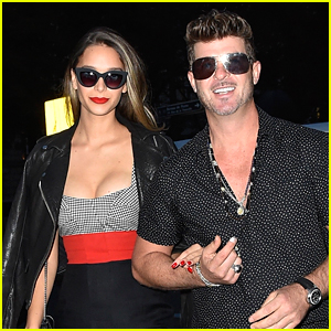 Robin Thicke & Pregnant Girlfriend April Love Geary Step Out for Date Night