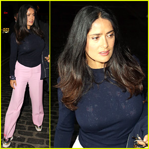 Salma Hayek Wears Pink Pants to London's West End