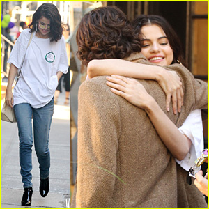 Selena Gomez & Timothee Chalamet Share a Hug on Woody Allen Film Set