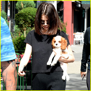 Selena Gomez Steps Out With Her New Puppy Charles in NYC!