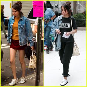 Selena Gomez Practices Lines on Set of Woody Allen Movie