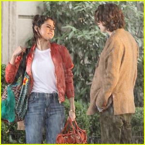 Selena Gomez & Timothee Chalamet Brave the Rain For Woody Allen Movie