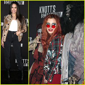 Sofia Carson & Bella Thorne Get Their Scare on at Knott's Scary Farm!