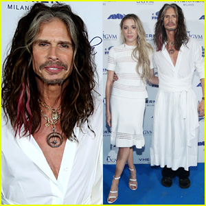 Steven Tyler Wears a Dress to Charity Event with Girlfriend Aimee Preston