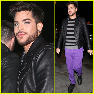 Adam Lambert Rocks Purple Pants for Night Out in WeHo