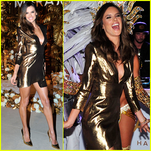 Alessandra Ambrosio Hosts a 'Golden Carnaval' in Beverly Hills!