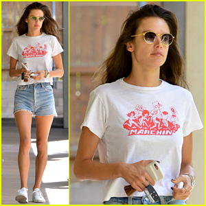 Alessandra Ambrosio Shows Off Long Legs in Denim Shorts