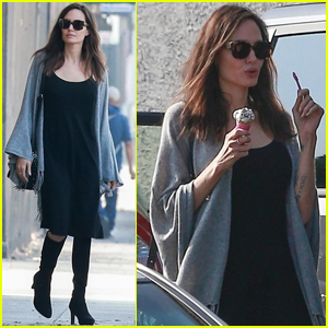 Angelina Jolie Stops For Ice Cream While Halloween Shopping!
