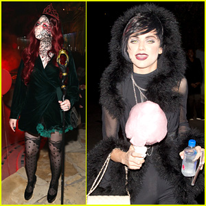AnnaLynne McCord Goes Gothic for Halloween with Michelle Trachtenberg at Just Jared's Party!