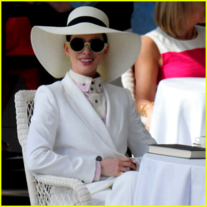 Anne Hathaway Wears a White Suit for 'Nasty Women' Scene