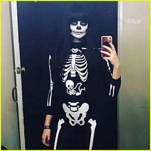 Behati Prinsloo Nails Halloween Costume with Skeleton Look
