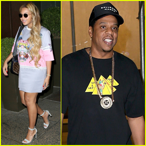 Beyonce Wears Chic T-Shirt Dress for Date Night with Jay-Z