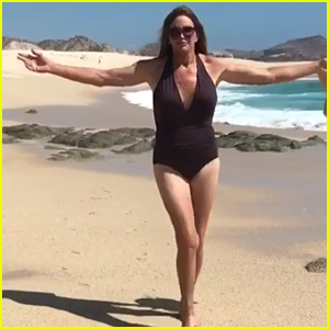 Caitlyn Jenner Flaunts Swimsuit Bod on the Beach: 'Being My Authentic Self' (Video)