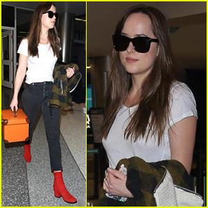 Dakota Johnson Rocks Red Booties for Her Flight Home
