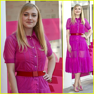 Dakota Fanning Looks Pretty in Pink at 'Please Stand By' Photocall in Rome!
