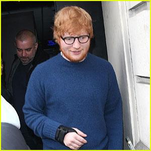 Ed Sheeran Wears Wrist Brace While Leaving BBC Radio Studios