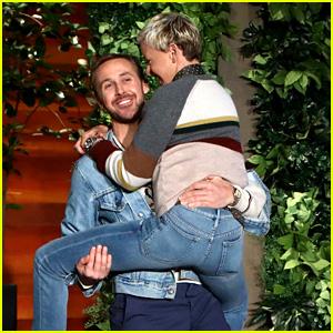 Ellen DeGeneres Runs & Jumps Into Ryan Gosling's Arms - Watch Now!