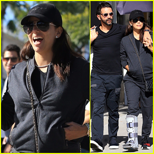 Eva Longoria Sports Cast On Her Foot While Out with Husband Jose Baston