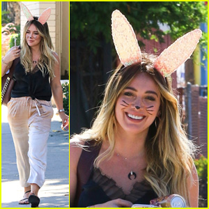 Hilary Duff Dresses as Cute Bunny for Halloween Party