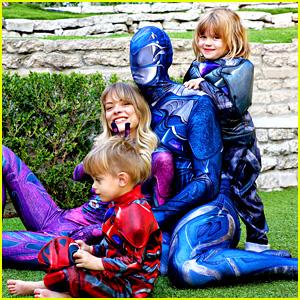 Jaime King & Family Dress Up as Power Rangers for Halloween Practice!