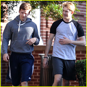 Joe Alwyn & Lucas Hedges Go Running on 'Boy Erased' Set