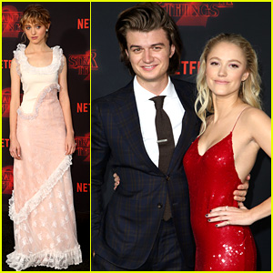 Stranger Things' Joe Keery & Girlfriend Maika Monroe Couple Up at Season 2 Premiere!