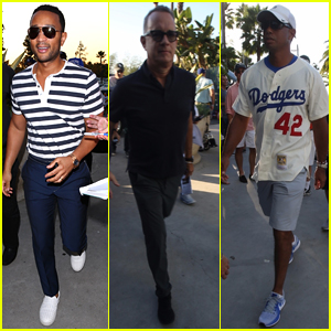 John Legend, Tom Hanks, & Tiger Woods Check Out Game Two of the World Series