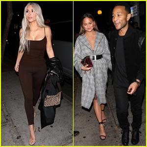 Kim Kardashian, Chrissy Teigen, & John Legend Check Out Dave Chappelle's Comedy Show!