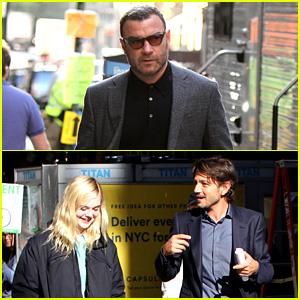 Liev Schreiber, Diego Luna, & Elle Fanning Film Scenes for Woody Allen Movie