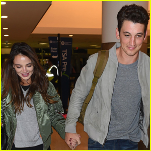 Miles Teller & Fiancee Keleigh Sperry Hold Hands in LAX Airport
