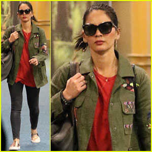 Olivia Munn Wears Army Green Jacket Through Vancouver Airport