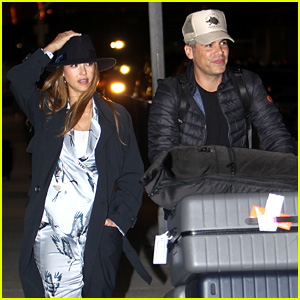 Pregnant Jessica Alba & Cash Warren Touch Down in NYC