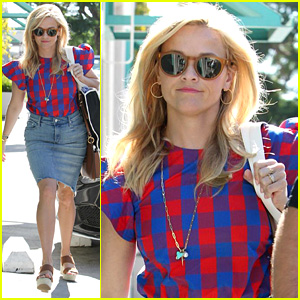 Reese Witherspoon Wears Denim & Plaid for Business Meeting