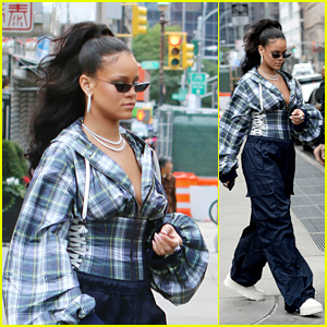 Rihanna Looks Fresh While Rocking Big Sleeves & Oversized Pants in NYC!