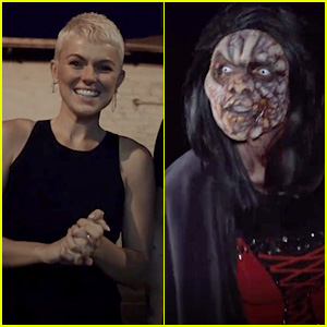 Serinda Swan Goes in Disguise to Scare Fans at Knott's Scary Farm! (Exclusive Video)