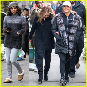 Jennifer Lopez & Leah Remini Bundle Up on the Set of 'Second Act'
