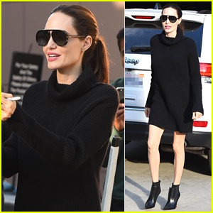Angelina Jolie Looks Chic Greeting Fans in Los Angeles