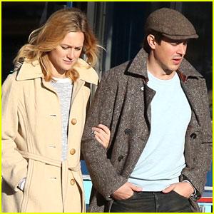 Chris Lowell & Girlfriend Kerry Bishé Write On New Sidewalk
