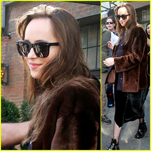 Dakota Johnson Greets Fans While Leaving Her Hotel in NYC!