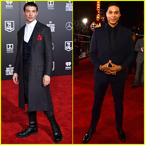 Ezra Miller & Ray Fisher Join Forces at 'Justice League' Premiere