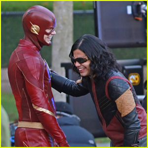 Grant Gustin & Carlos Valdes Suit Up For 'The Flash' Filming