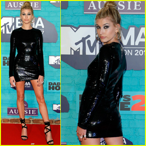 Hailey Baldwin Sparkles on the MTV EMAs Red Carpet!