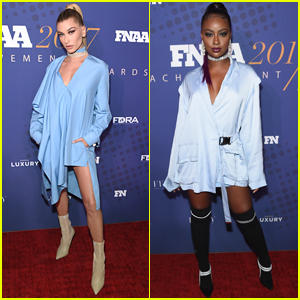 Hailey Baldwin & Justine Skye Rock Similar Outfits for FN Achievement Awards