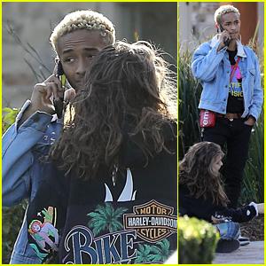 Jaden Smith & Girlfriend Odessa Adlon Cuddle Up Outside in Calabasas!