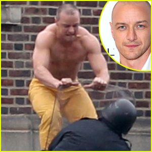 Shirtless James McAvoy Attacks Police in Intense 'Glass' Set Photos