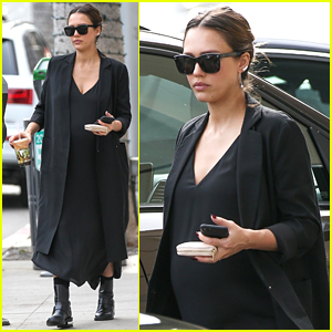 Jessica Alba Covers Up Her Baby Bump During Boba Run