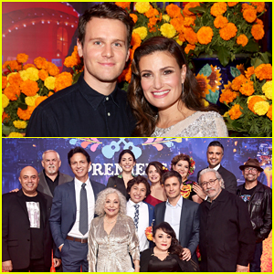 Jonathan Groff & Idina Menzel Join 'Coco' Cast at Marigold-Carpet Hollywood Premiere!