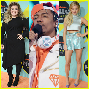 Kelly Clarkson Joins Nick Cannon & Kelsea Ballerini at Halo Awards 2017