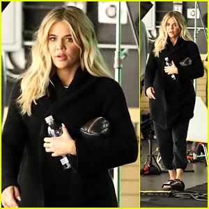 Khloe Kardashian Covers Her Baby Bump While Filming at the Studio!